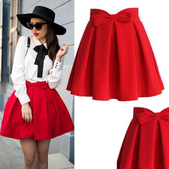 スウィートユアハートフロントおリボンプリーツスカート *Ruby