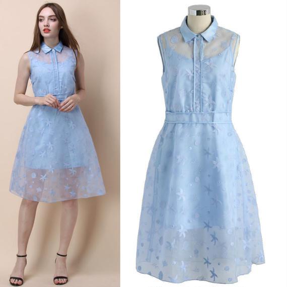 オーシャンクール刺繍オーガンジードレス