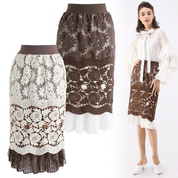 スベルトフローラル刺繍ペンシルスカート