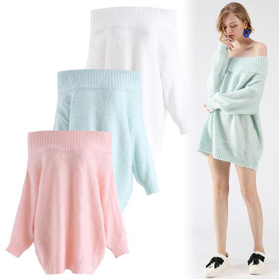 ドリームオフショルロングラインセーター