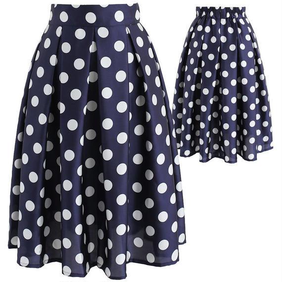 レトロポルカドットAラインスカート