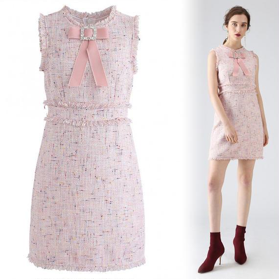 ビマイバレンタインタッセルツイードドレス