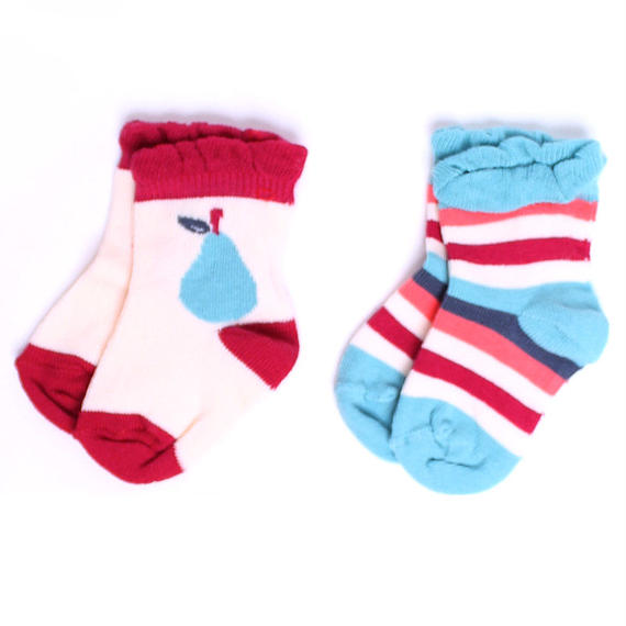 【SFA-GSK-FS2】 PACT(パクト)ベビー オーガニックコットン 靴下 2足セット GIRL'S-BABY SOCK-FRUITSTAND TWO-PACK
