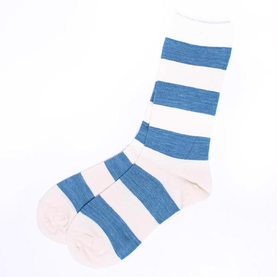 ORGANIC GARDEN/オーガニックガーデン【NS8214】藍のくつした・太ボーダー 水色 浅葱