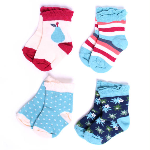 【SFA-GSK-FS4】PACT(パクト)ベビー オーガニックコットン 靴下 4足セット GIRL'S-BABY SOCK-FRUITSTAND FOUR-PACK