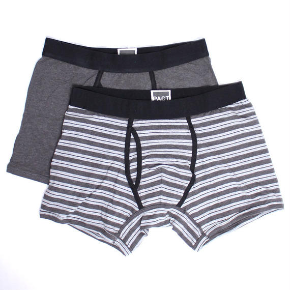 PACT(パクト)2枚組 MEN'S-BOXER BRIEF 2P-CHARCOAL HEATHER/GREY STRIPE