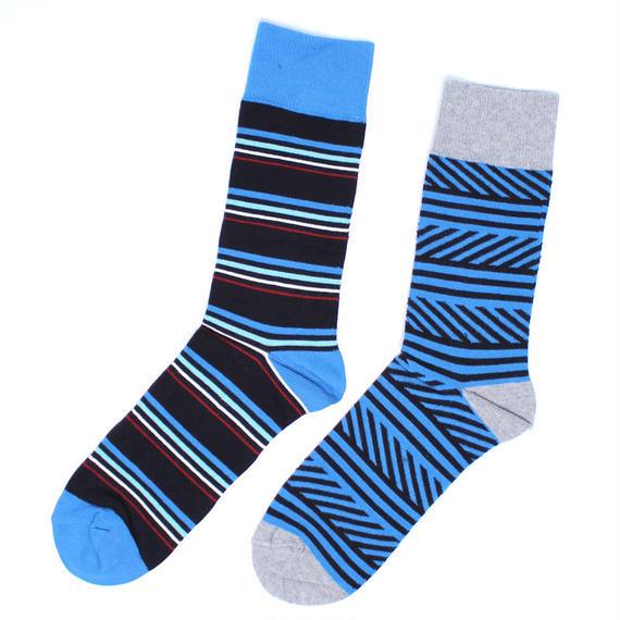 PACT/パクト【SFA-MSK-RTS-1S】メンズ MEN'S-CREW SOCK 2P-ROAD TRIP STRIPE-オーガニックコットン 2足セット 靴下
