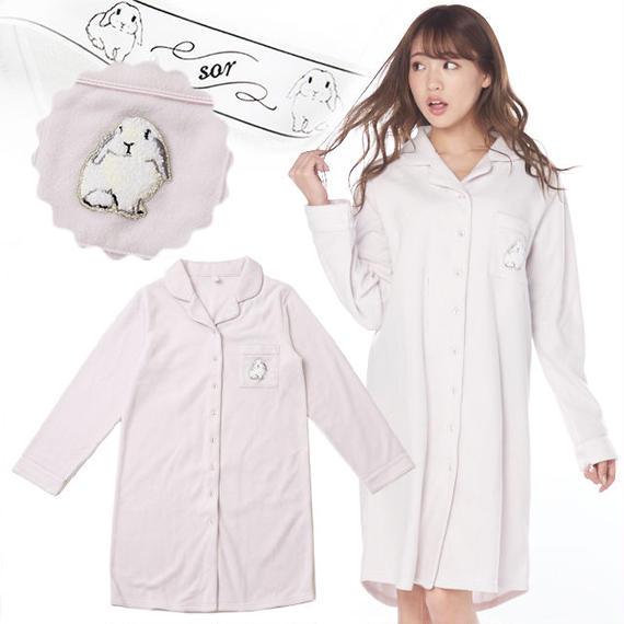 リボン付き【ラビット刺繍シャツワンピース】P91557-783