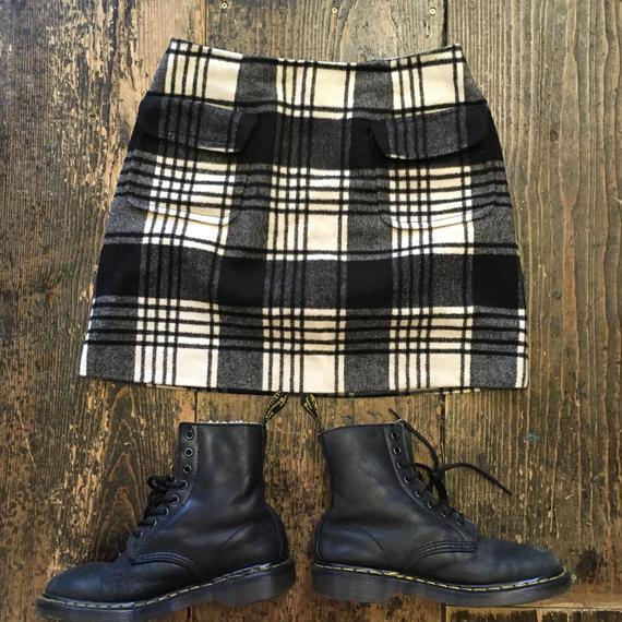 [USED] モノクロチェック柄 台形スカート