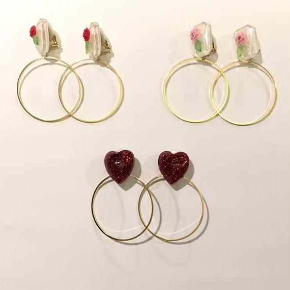 [BENICOTOY] ハート&花 RINGイヤリング