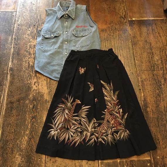[USED] ジャングルのキリン柄ロングスカート