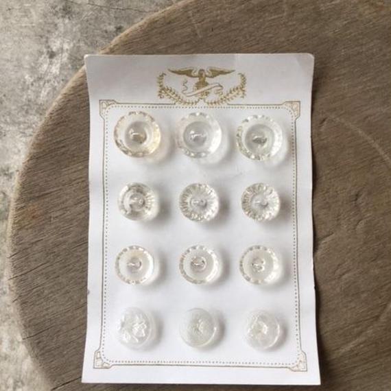 チェコのガラスボタン(クリア)