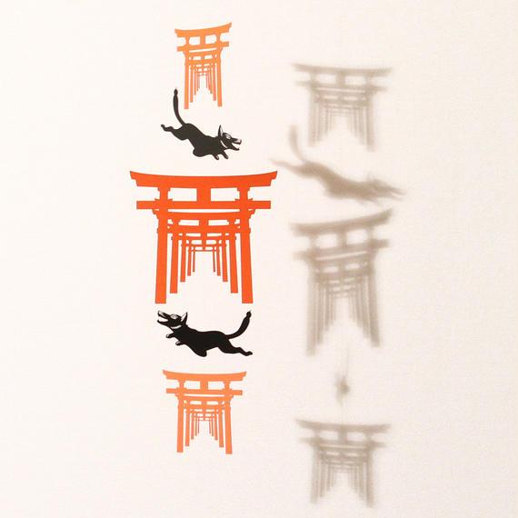 お稲荷さん三連「BLACK」#paper ornament