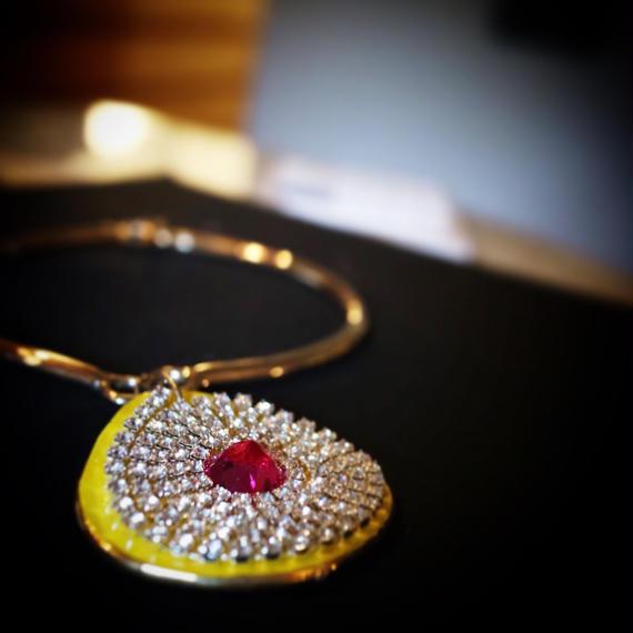 Amarillo collier necklace Yellow ceramic pendant