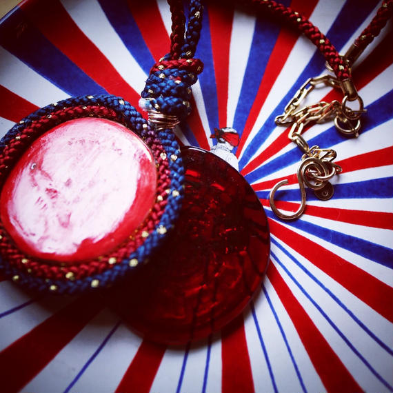 Navy pendant necklace