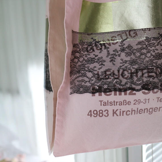 conceal print tote lace  pink