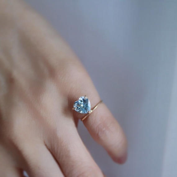 Aquamarine Heart Ring