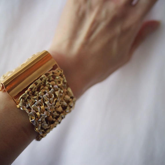 Knit Bangle  gold