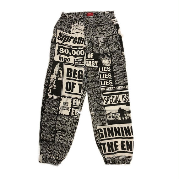 Supreme Newsprint Skate Pant Black S 18AW 【新品】