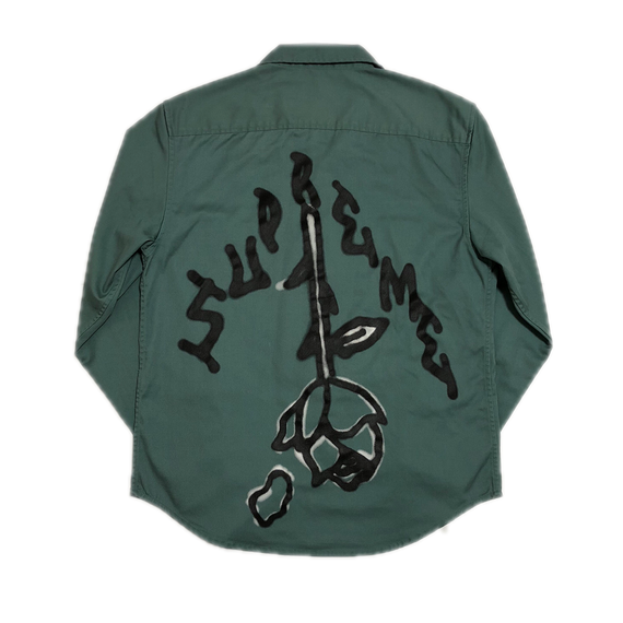 Supreme Rose L/S Work Shirt Khaki S 18AW 【中古】
