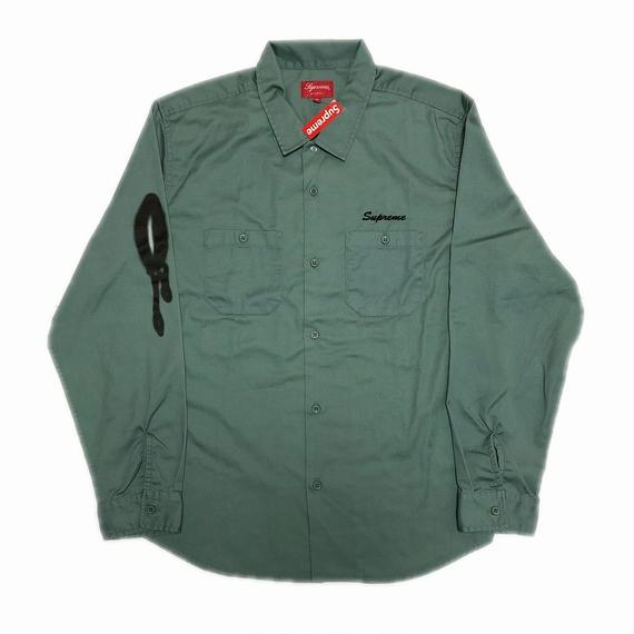 Supreme Rose L/S Work Shirt Khaki XL 18AW 【新品】