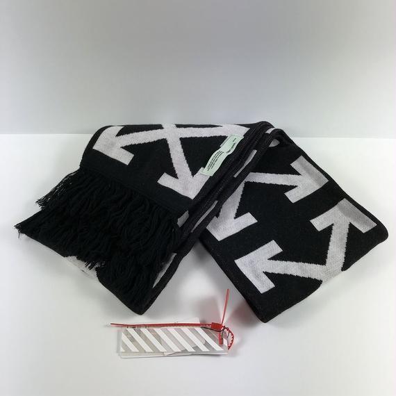 OFF-WHITE DIAG + ARROWS MUFFLER SCARF BLACK/WHITE 17SS 【中古】