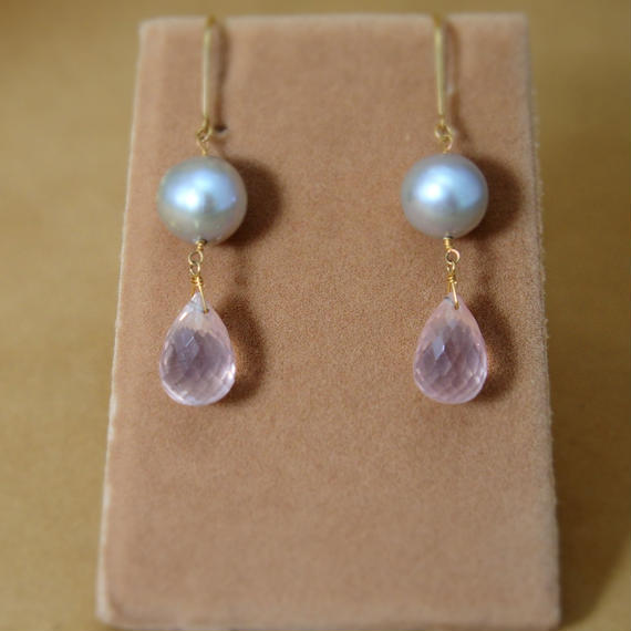 RoseQuartz&F.W.Pearl Earrings