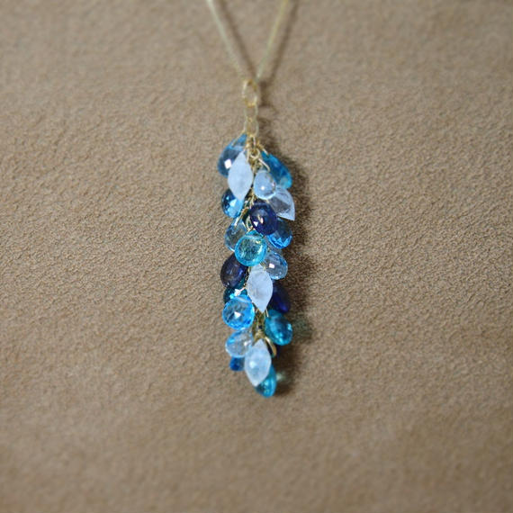 Blue Mix Stone Prism Pendant Charm