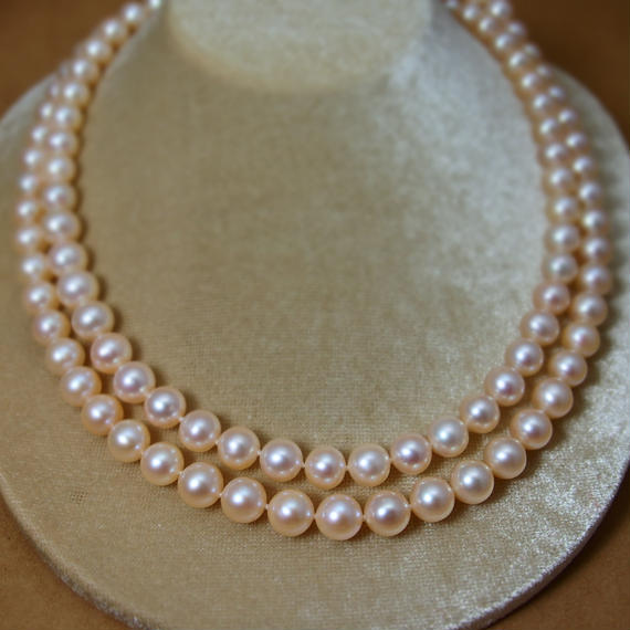 Champagne Pink F.W.Pearl Long Necklase(1)