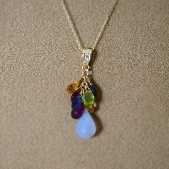 BlueChalcedony&ColorStone Chapeau PendanntTop(+Diamond)
