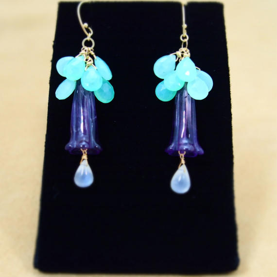 Amethyst&Chrysoprase Flower Earrings