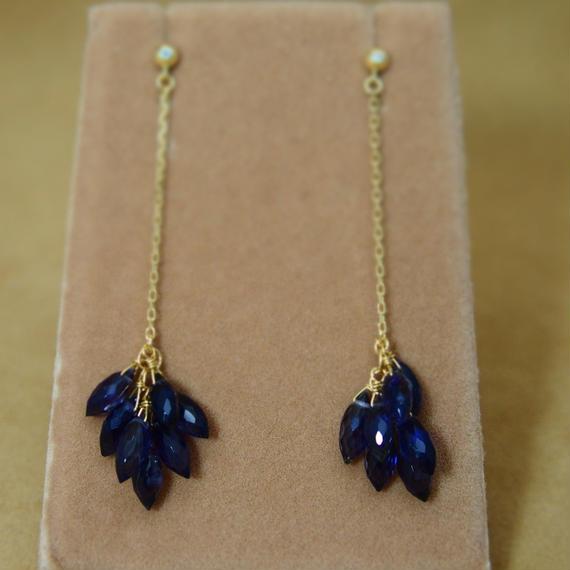 Iolite Line Earrings(m/q)