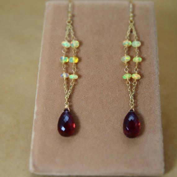 Opal&Garnet Design Earrings