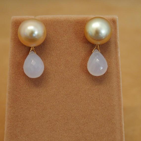 Golden Pearls&Blue Chalcedony Charm Earrings