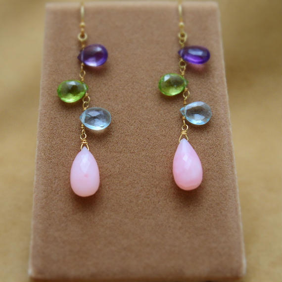 PinkOpal&ColorStone Design Earrings