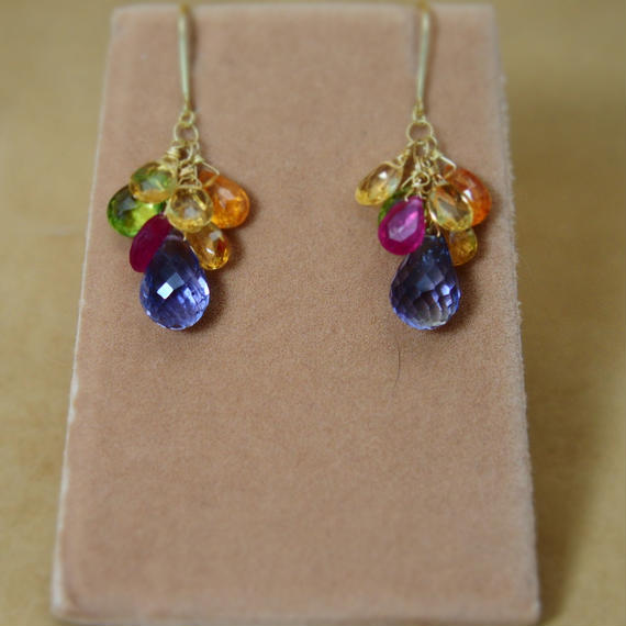 Iolite&ColorStone Chapeau Earrings