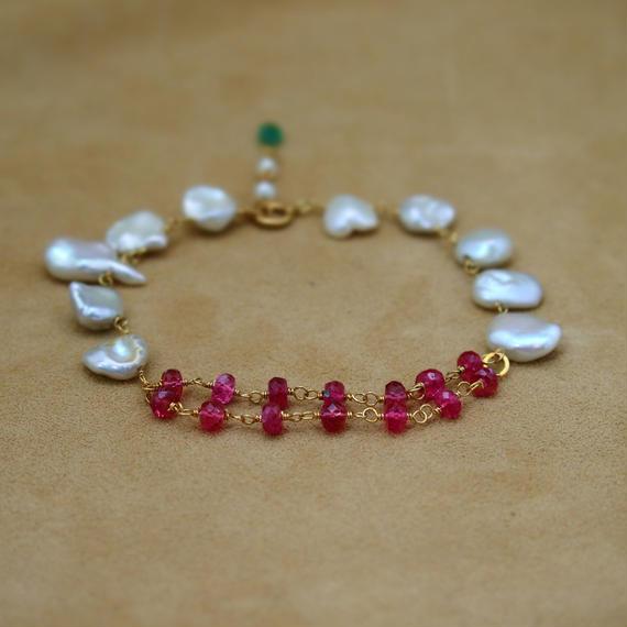 PinkSpinal&F.W.Pearl Bracelet