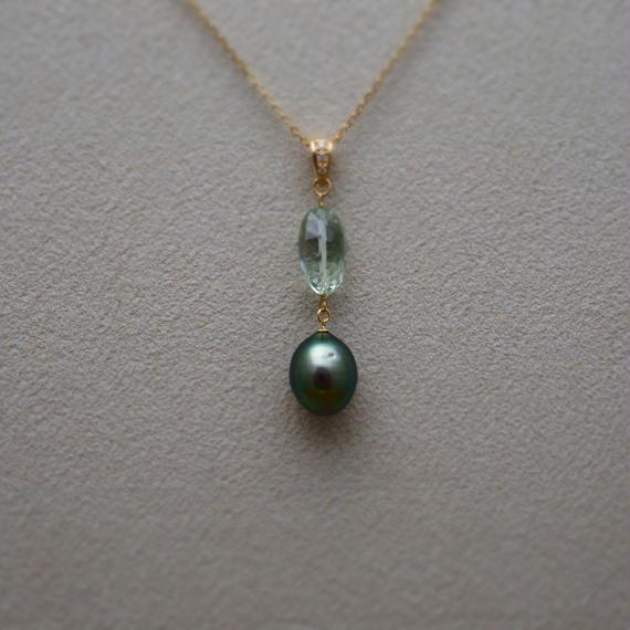 Green Amethyst&Tahitian Pearl Pendant Top(+Diamond)