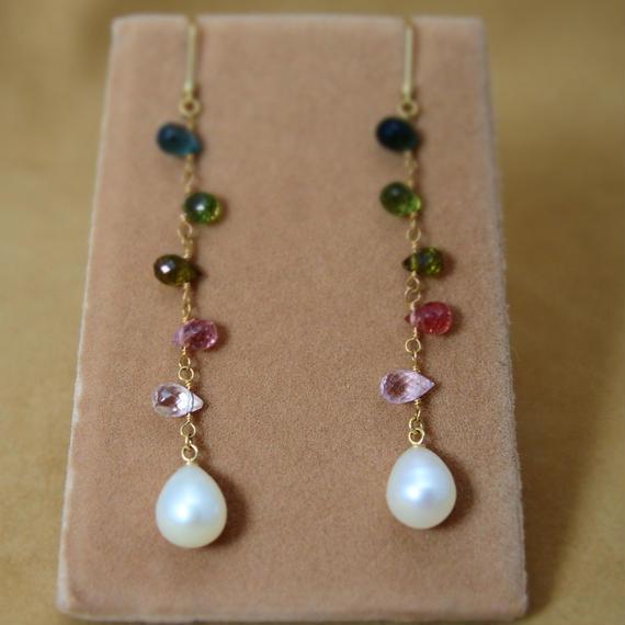Multi Tourmarine &F.W.Pearl Earrings(d/c)
