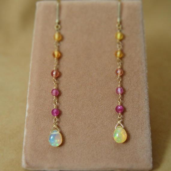 MultiSapphire&Opal Earrings