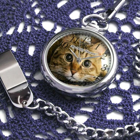 オーダーメイド懐中時計 世界に一つのオリジナルウォッチ ペットメモリアル 猫 犬 ウサギ