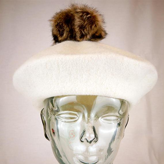 【I18A12】S/H Fur Pon Beret(通常価格:4968円)