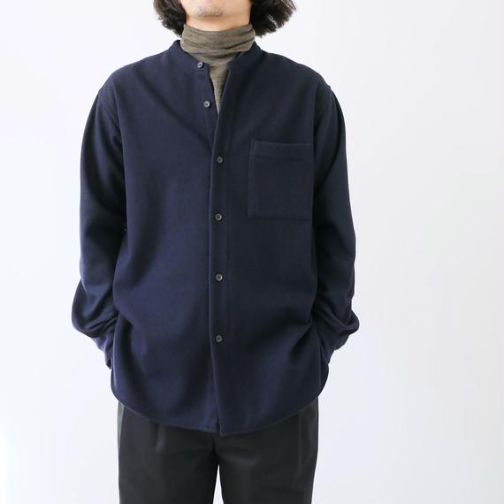 WIRROW|ウィロウ|メルトンスタンドカラーシャツ|size3|ネイビー