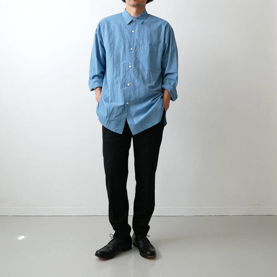 WIRROW  Cotton linen mens shirt サイズ1 BLUE NO.57165-118