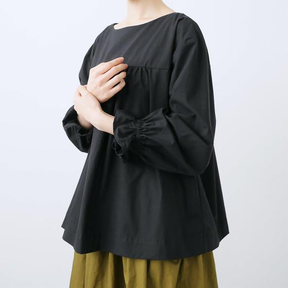 Alaris |アラリス|ギャザーロングパフスリーブシャツ|BLACK|BL-024