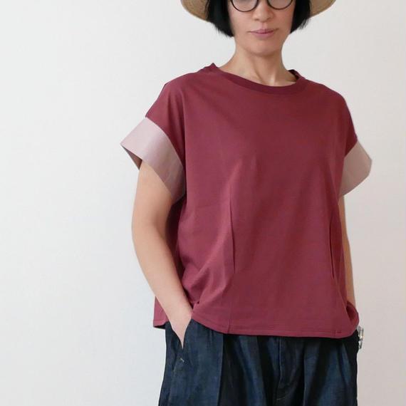 dahl'ia   ダリア   異素材ショートスリーブ カット Tシャツ RED