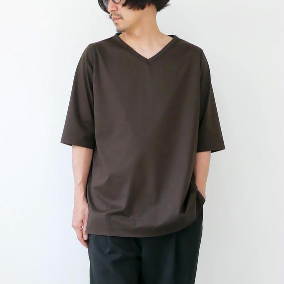 GOUACHE FUKUOKA|ガッシュ|Vネックハーフスリーブカットソー|Tシャツ|ダークブラウン|メンズ