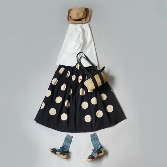 THE FACTORY  ザ・ファクトリー  バティック Big Dot ギャザースカート BLACK TF18SS-0708