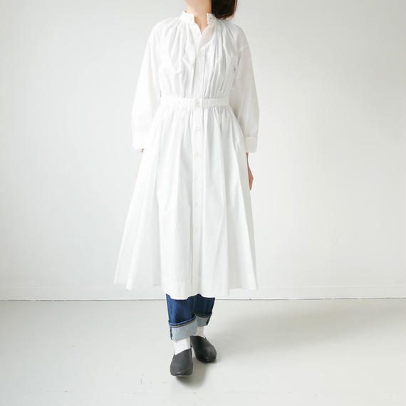THE FACTORY |ザ・ファクトリー |コットンツイル ギャザーワンピース|WHIT|TF17AW-0506