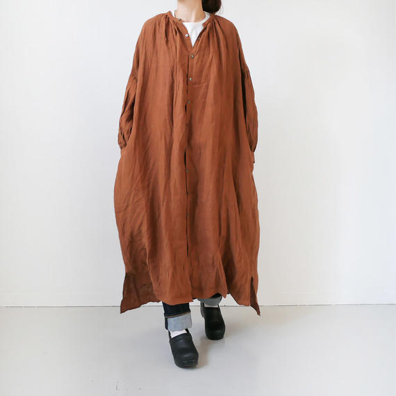 UNIVERSAL TISSU ユニヴァーサルティシュ リネンヴィンテージグレンチェックボリュームシャツドレス UT190OP086 BROWN